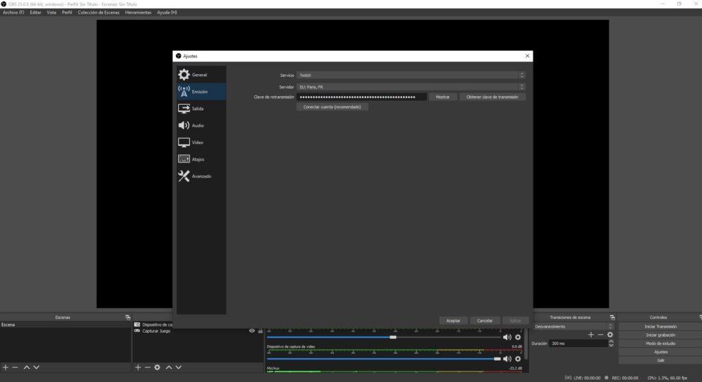 configurar twitch OBS studio